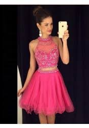 buy a line halter backless short pearl pink satin homecoming dress
