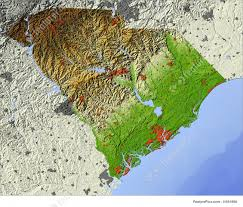 Relief Map Signs And Info Shaded Relief Map Of South Carolina Stock