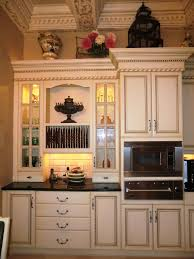 kitchen simple glass door cabinet antique white finish kitchen