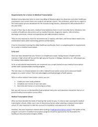 cover letter for medical field resume writing medical transcriptionist