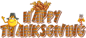 happy thanksgiving smiley chasing turkey animated gif 9023