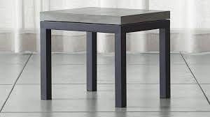 Concrete Side Table Parsons Concrete Top Dark Steel Base 20x24 End Table Crate And