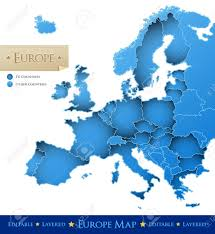 Europe Map Countries by European Union Vector Map Blue Europe Map Isolated On White
