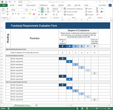 Requirements Template Excel Functional Requirements Specification Ms Word Excel Template