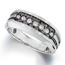 2 s ring men s 1 2 ct t w enhanced black and white diamond three row ring