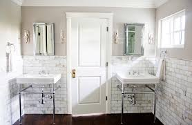 Subway Tiles In Bathroom Carrera Floor Tile With Two Sinks Bathroom Traditional And