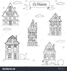 traditional european houses set doodle sketch houses traditional european stock vector