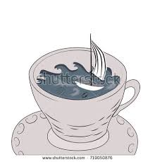 storm in a teacup tempest teapot storm teacup hand drawn stock vector 719050876