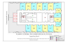 Housing Blueprints by Warren Towers Floor Plans Housing Boston University