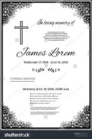 Funeral Invitation Cards Funeral Template Card Simple Line Cross Stock Vector 561904123