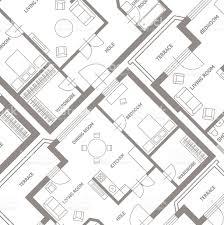 architect plan vector furniture architect plan background flat design stock
