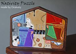 wooden nativity puzzle about my awesome mom who made these