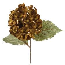 silk hydrangea pack of 6 green and gold artificial silk hydrangea stem flowers