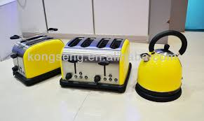 yellow appliance breakfast maker set 1 7l kettle u0026 4 slices