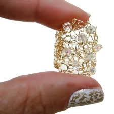 jewelry large rings images Big gold ring crystal bling wire knit jewelry sparkling crystals jpg