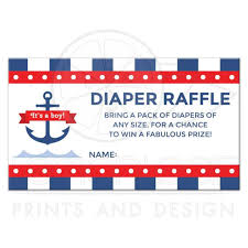 nautical baby shower diaper raffle ticket with anchor and dark