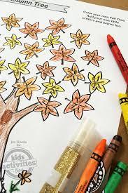 free kids printable fall tree coloring page
