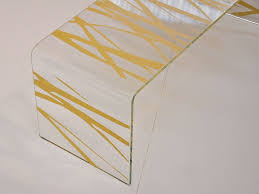 table in screen printed curved glass tiger
