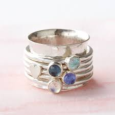 spinner ring personalised birthstone spinner ring by silver