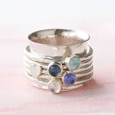 spinner rings personalised birthstone spinner ring by silver
