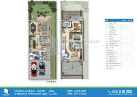 floor plan of chelsea in boutique villas damac dubai