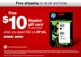 free 10 staples gift card when you spend 50 on hp ink via easy