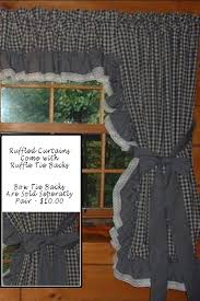 Primitive Curtain Tie Backs Ruffled Curtains Ruffled Curtain Two Red Fabric Choices