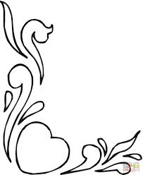 flower heart drawing hearts and flowers coloring page free