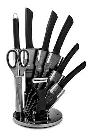 imperial collection 9 pc knives set black non stick coating with