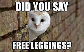 Leggings Meme - did you say free leggings dat nigga owl meme generator