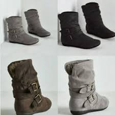 s boots wedge womens flat faux suede slouch low heel wedge ankle
