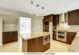 modern kitchen with brown cabinets modern kitchen room with matte brown cabinets and granite trim