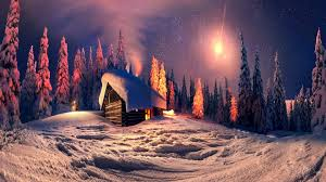 Winter House Winter Woods Light North Cozy Trees Snow Star Forest Cabin