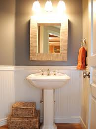 Powder Room Paint Colors Ideas Photos Hgtv Cottage Powder Room With White Wainscoting And Storage