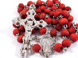 petal rosary scented wood carved petal rosary madonna