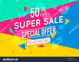 super colorful super sale shining banner on colorful stock vector 346063709