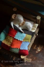 sleeping mice quilting unique needle felted ornament animal