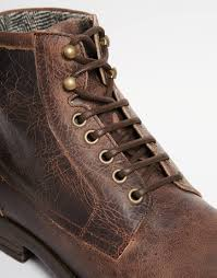 brown motorcycle boots for men asos workboots in leather in brown for men lyst