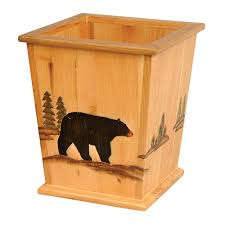 Lodge Bathroom Accessories by Wood Black Bear Waste Basket