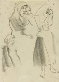 sketches of two women in headscarves and bare feet holding a baby