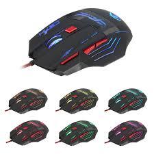 souris pour ordinateur de bureau 7 touches leb rétro éclairage usb filaire souris de jeu pour