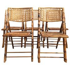 Folding Chairs Set Of Five Scorched Bamboo Frame Folding Chairs With Rattan Seat