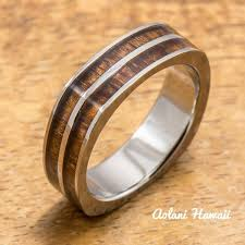 square style rings images Titanium square ring with hawaiian koa wood inlay 6mm width flat jpg