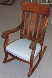 Vintage Rocking Chairs Antique Rocking Chair With Blue Polkadot Pattern Upholstered Seat