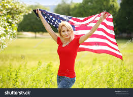 halloween flags outdoors beautiful patriotic young woman american flag stock photo