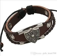 fashion charm leather bracelet images 2018 shield leather bracelet fashion charms for designing leather jpg