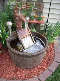 Garden Led Solar Lights by Barrel Water Fountain Added Old Glass Washboard With A Color