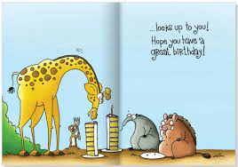 tall giraffe warthog and ant eater funny birthday card by oatmeal