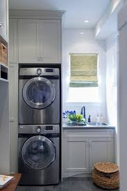 Washer And Dryer Cabinet Laundry Mud Room Combo With Gray Shaker Cabinets Painted