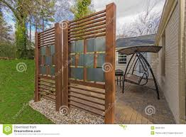 backyard patio with diy privacy fence stock image image 38021263